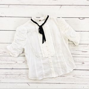 Free People ruched pleated button shirt white 4